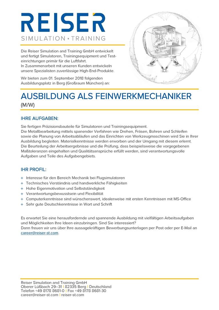 Ausbildung Feinwerkmechanik (m/w)