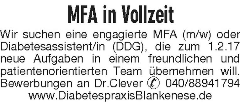 MFA (m/w) oder Diabetesassistent/in