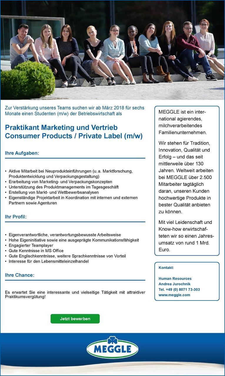 Praktikant Marketing und Vertrieb Consumer Products / Private Label (m/w)
