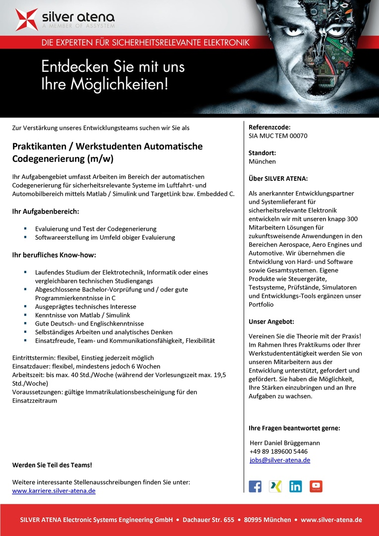 Praktikanten / Werkstudenten Automatische Codegenerierung (m/w)