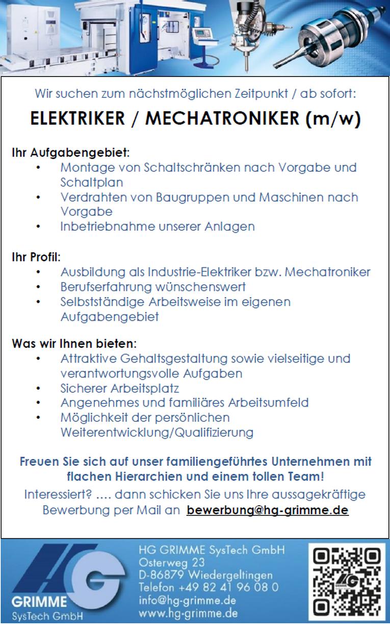 Elektriker / Mechatroniker (m/w)
