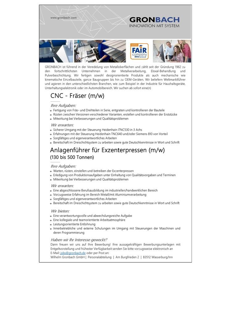 CNC - Fräser (m/w)