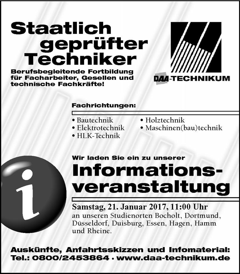 Fortbildung: Staatlich geprüfter Techniker (m/w)