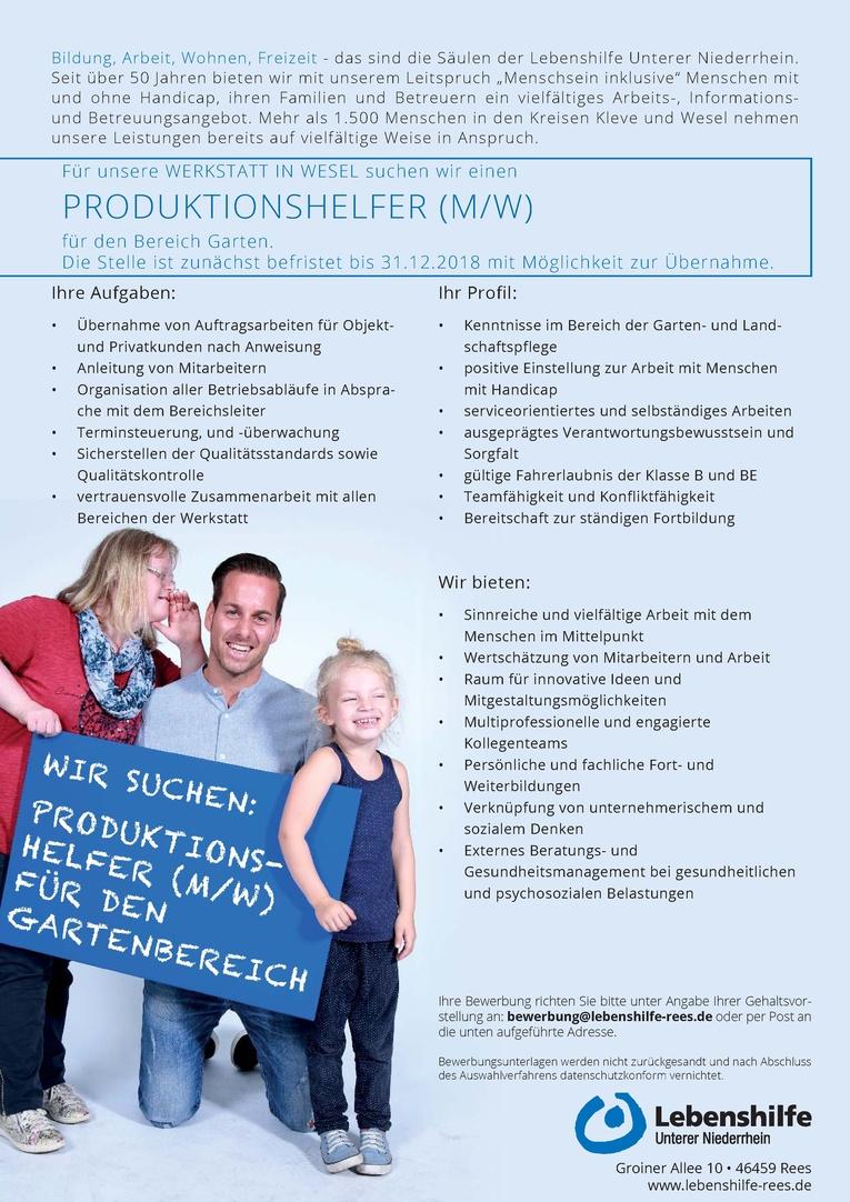Produktionshelfer (m/w) für den Bereich Garten