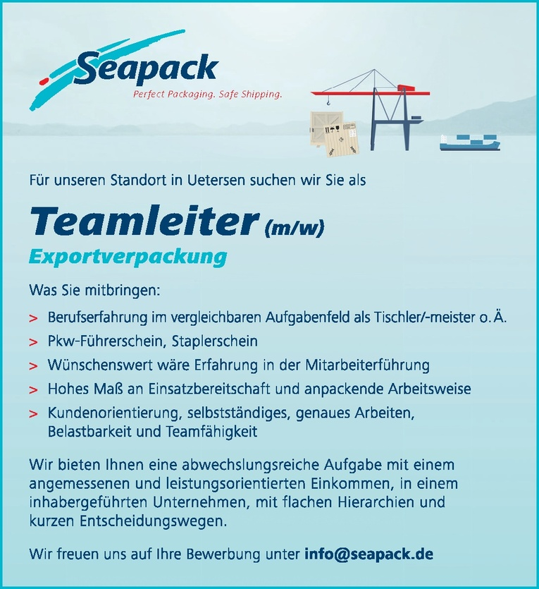 Teamleiter (m/w)  Exportverpackung