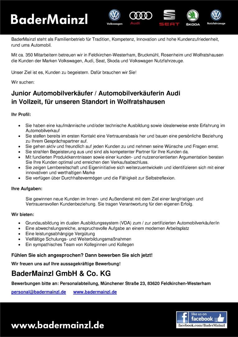 Junior Automobilverkäufer / Automobilverkäuferin Audi