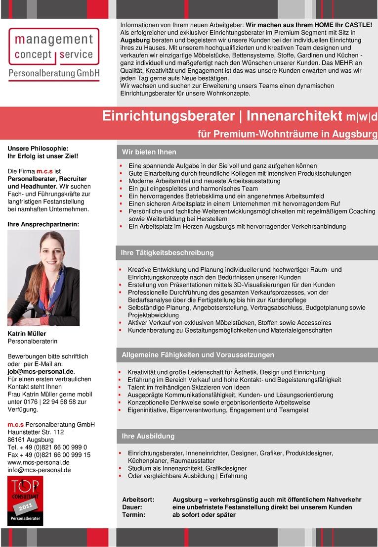 Job Einrichtungsberater Innenarchitekt M W D Fur Premium Wohntraume