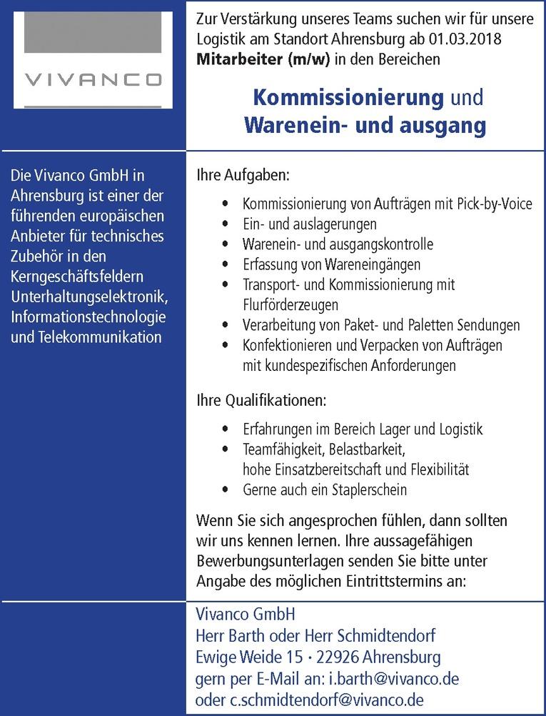 Mitarbeiter (m/w) in den Bereichen Kommissionierung und Warenein- und Ausgang
