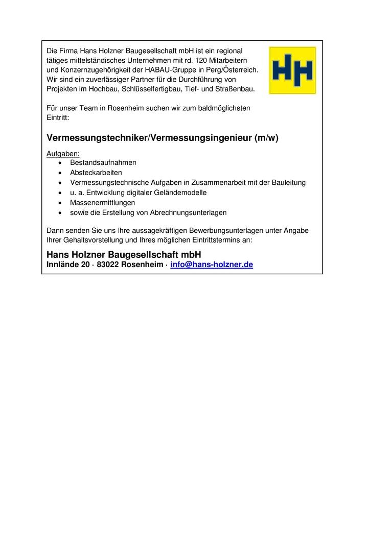Vermessungstechniker/Vermessungsingenieur/in im Tief- und Straßenbau in Rosenheim