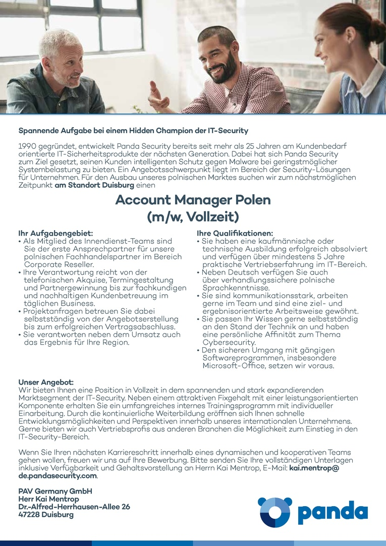 Account Manager Polen (m/w, Vollzeit)