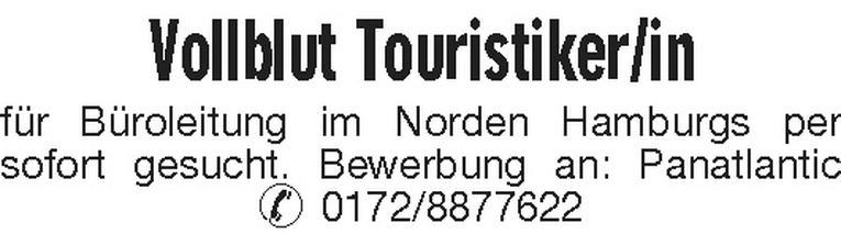 Vollblut Touristiker/in