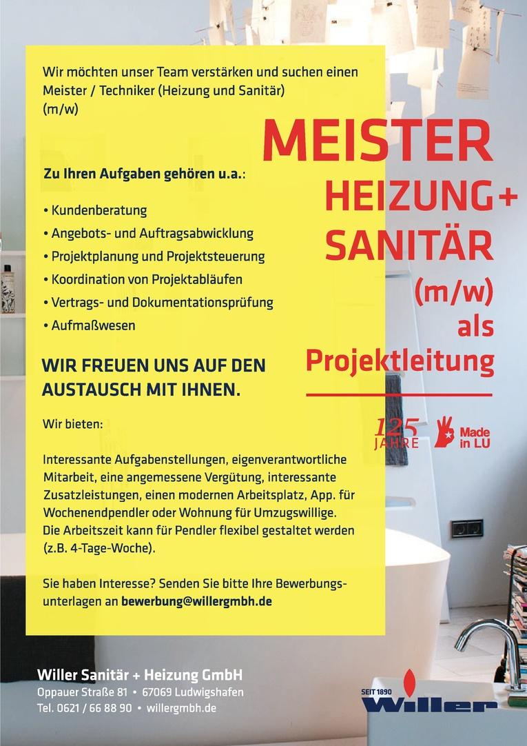 Meister/Techniker (Heizung + Sanitär) (m/w) als Projektleitung