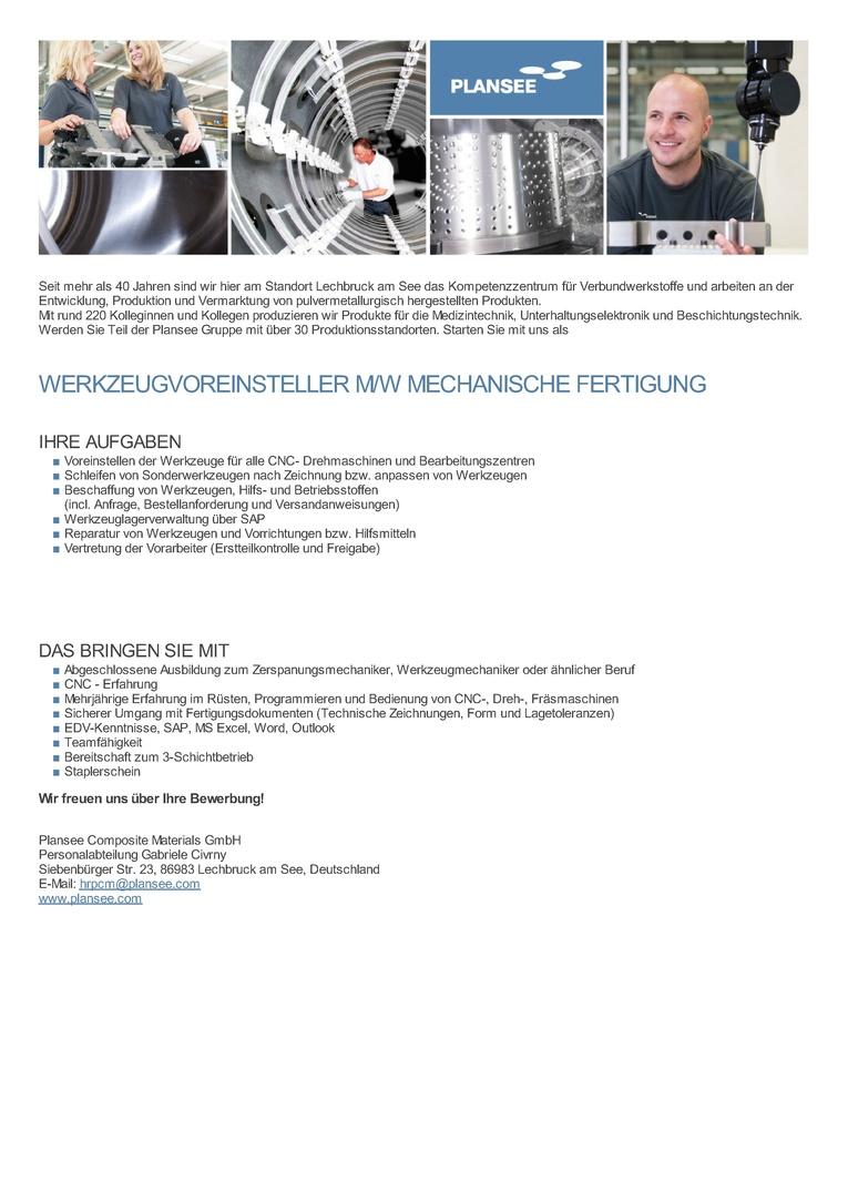 Werkzeugvoreinsteller m/w Mechanische Fertigung