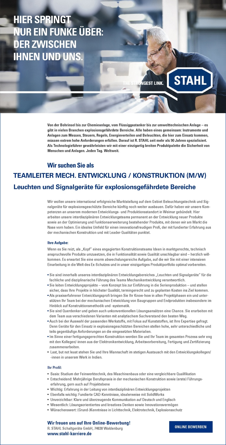 TEAMLEITER MECHANISCHE ENTWICKLUNG / KONSTRUKTION (M/W) – Leuchten und Signalgeräte für explosionsgefährdete Bereiche
