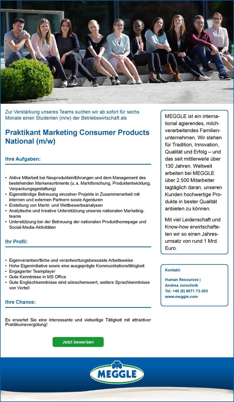 Praktikant Marketing Consumer Products National (m/w)