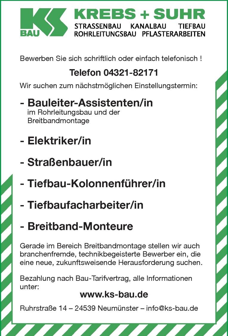 Tiefbau-Kolonnenführer/in