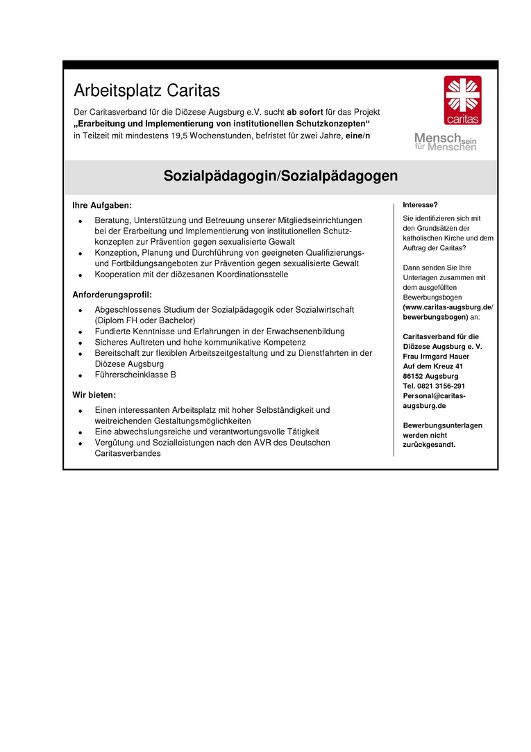 """Sozialpädagogin/Sozialpädagoge Projekt """"Erarbeitung und Implementierung von institutionellen Schutzkonzepten"""""""