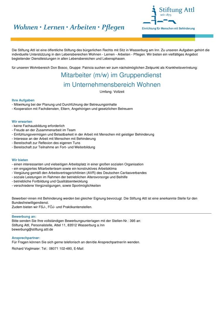 Mitarbeiter im Gruppendienst (m/w) in Vollzeit, befristet- Stellen-Nr. 395