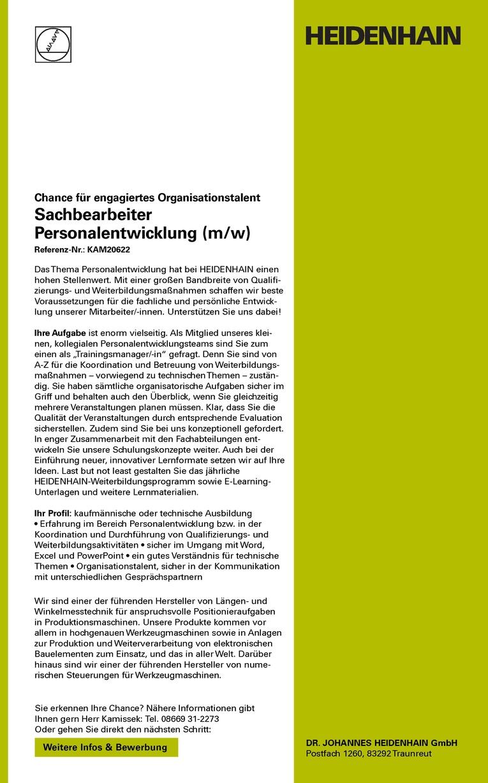 Sachbearbeiter Personalentwicklung (m/w)