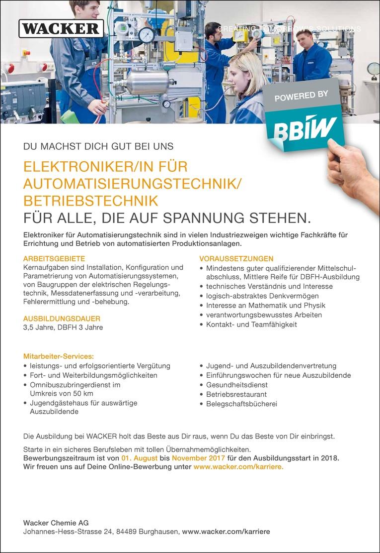 Ausbildung als Elektroniker/in für Automatisierungstechnik/ Betriebstechnik