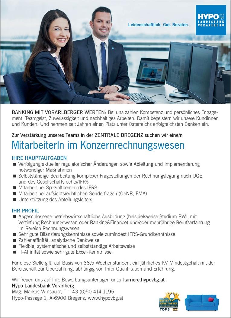 MitarbeiterIn im Konzernrechnungswesen in Voralberg
