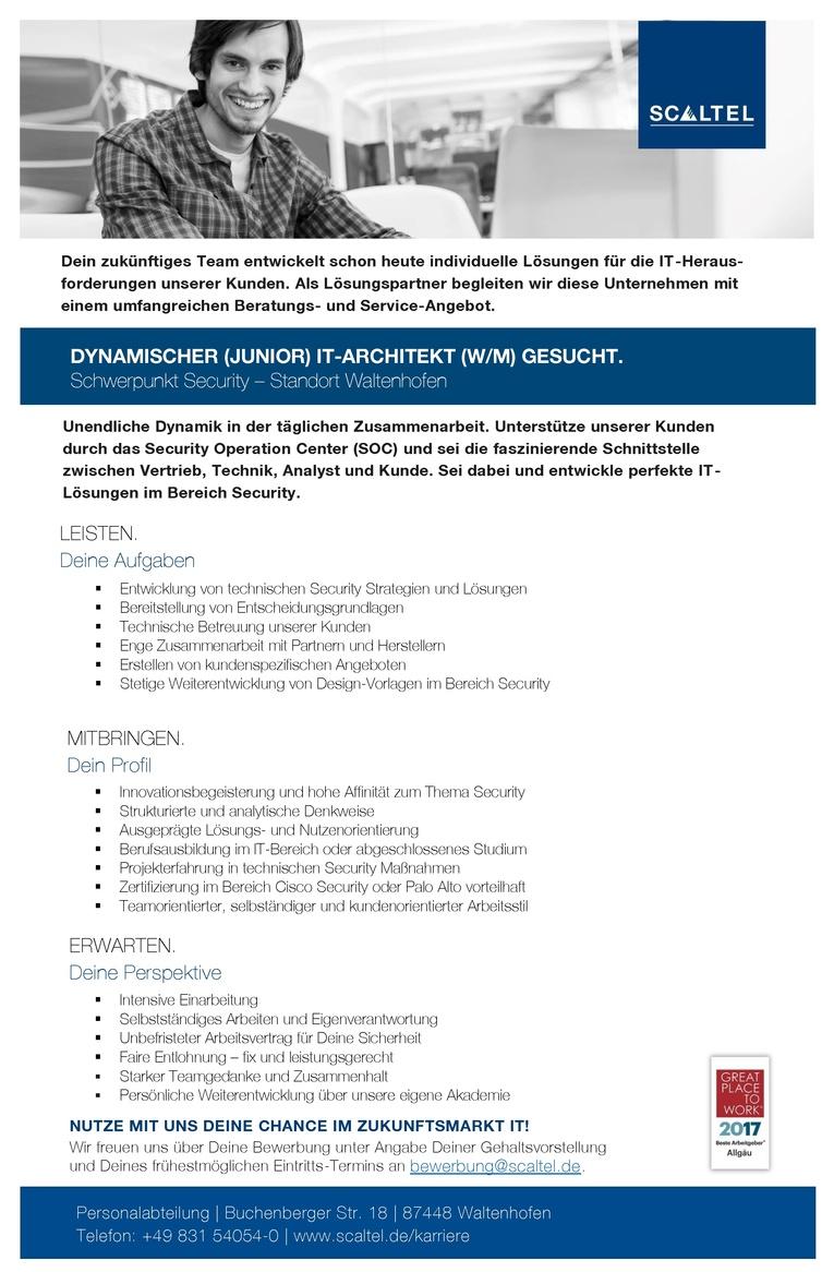 DYNAMISCHER (JUNIOR) IT-ARCHITEKT (W/M) SCHWERPUNKT SECURITY