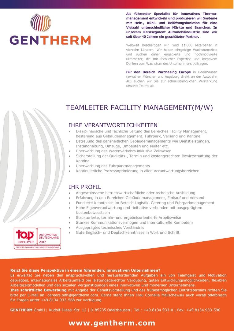 Teamleiter Facility Management (m/w)