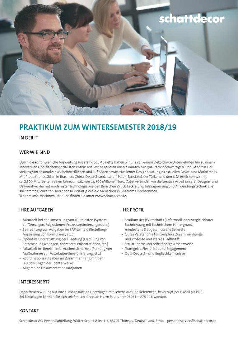Praktikum in der IT zum Wintersemester 2018/19