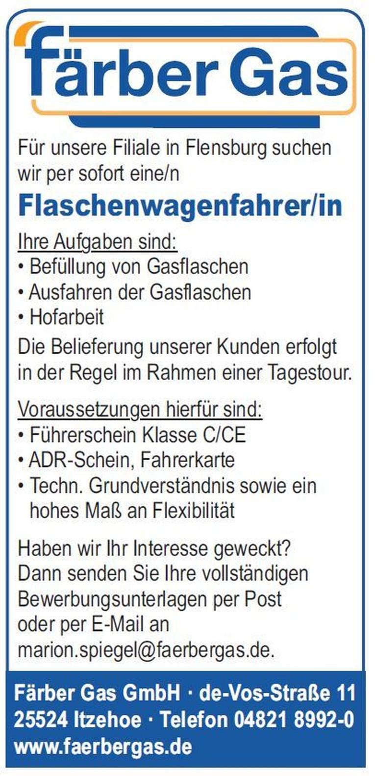 Propanflaschenwagenfahrer/in (m/w)