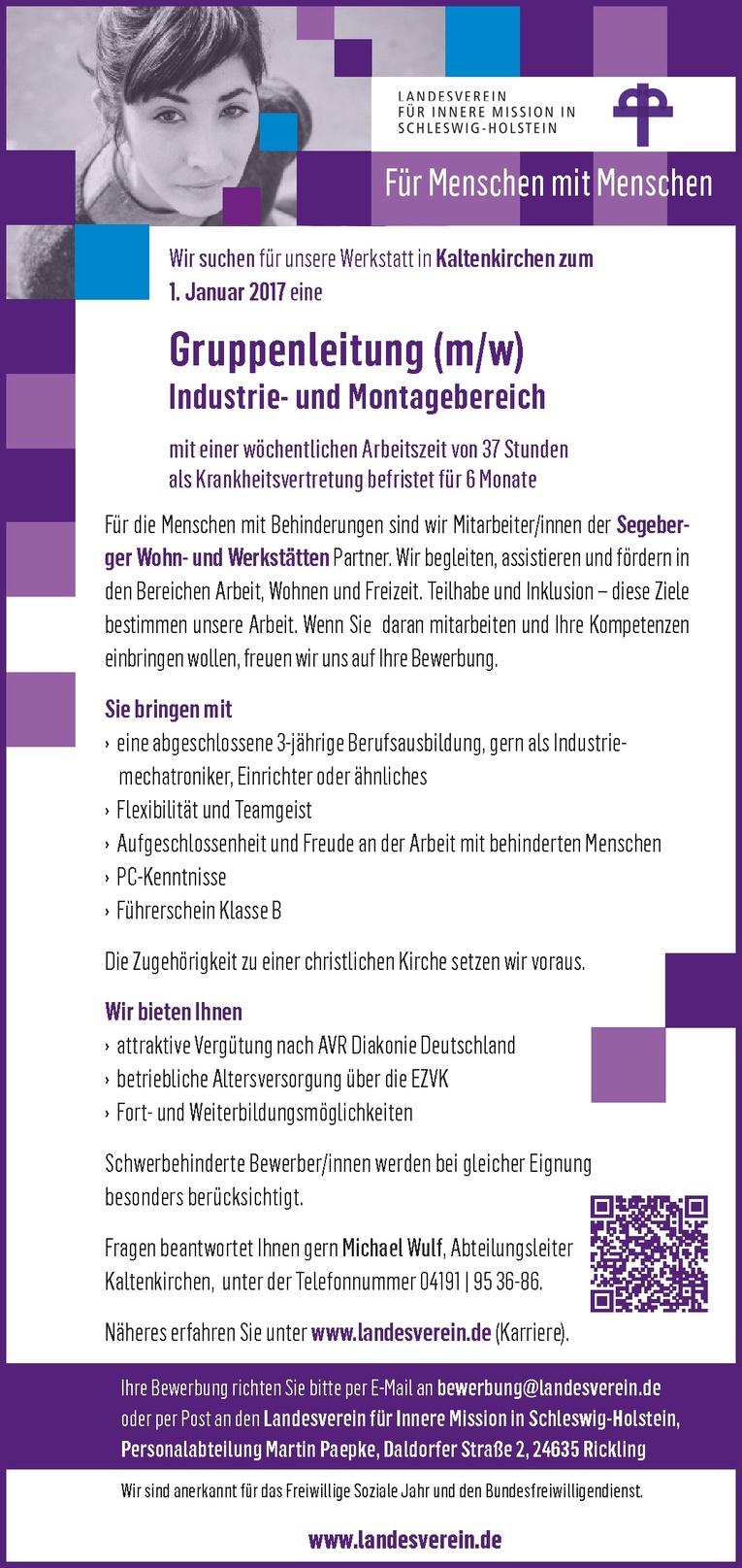 Gruppenleitung (m/w) Industrie- und Montagebereich