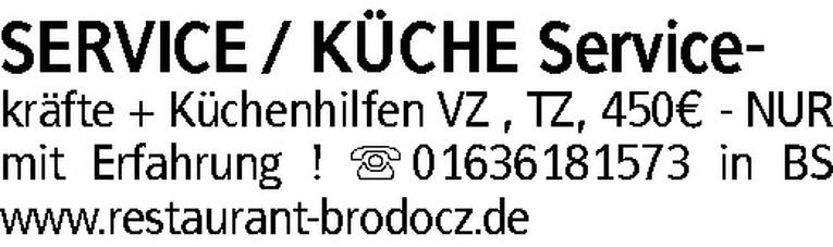Servicekräfte + Küchenhilfen m/w