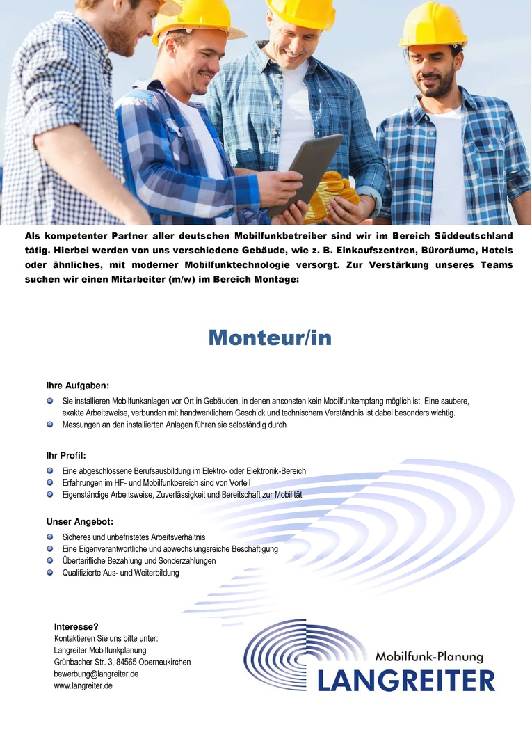 Monteur/in für Mobilfunk-Inhouseversorgung