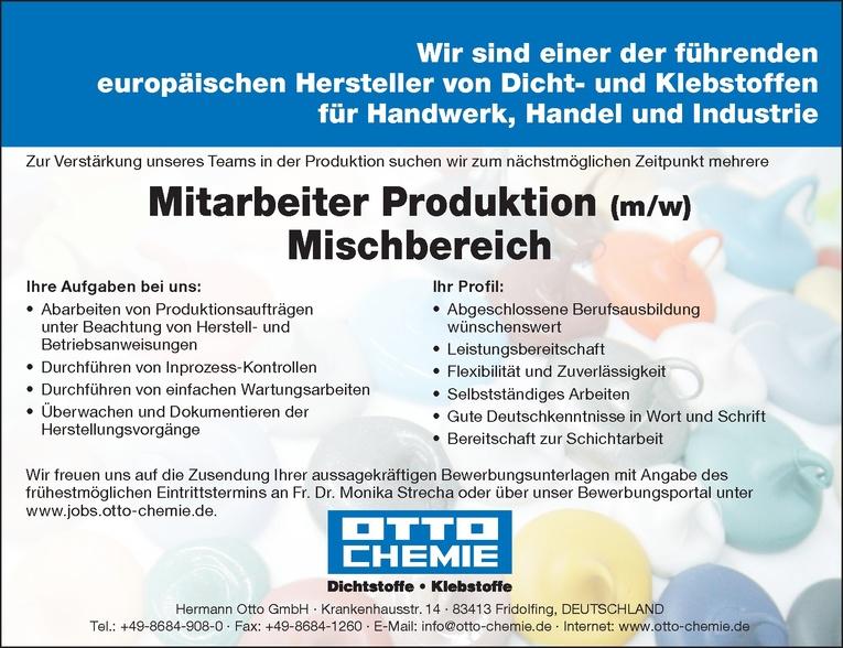Mitarbeiter Produktion (m/w) - Mischbereich