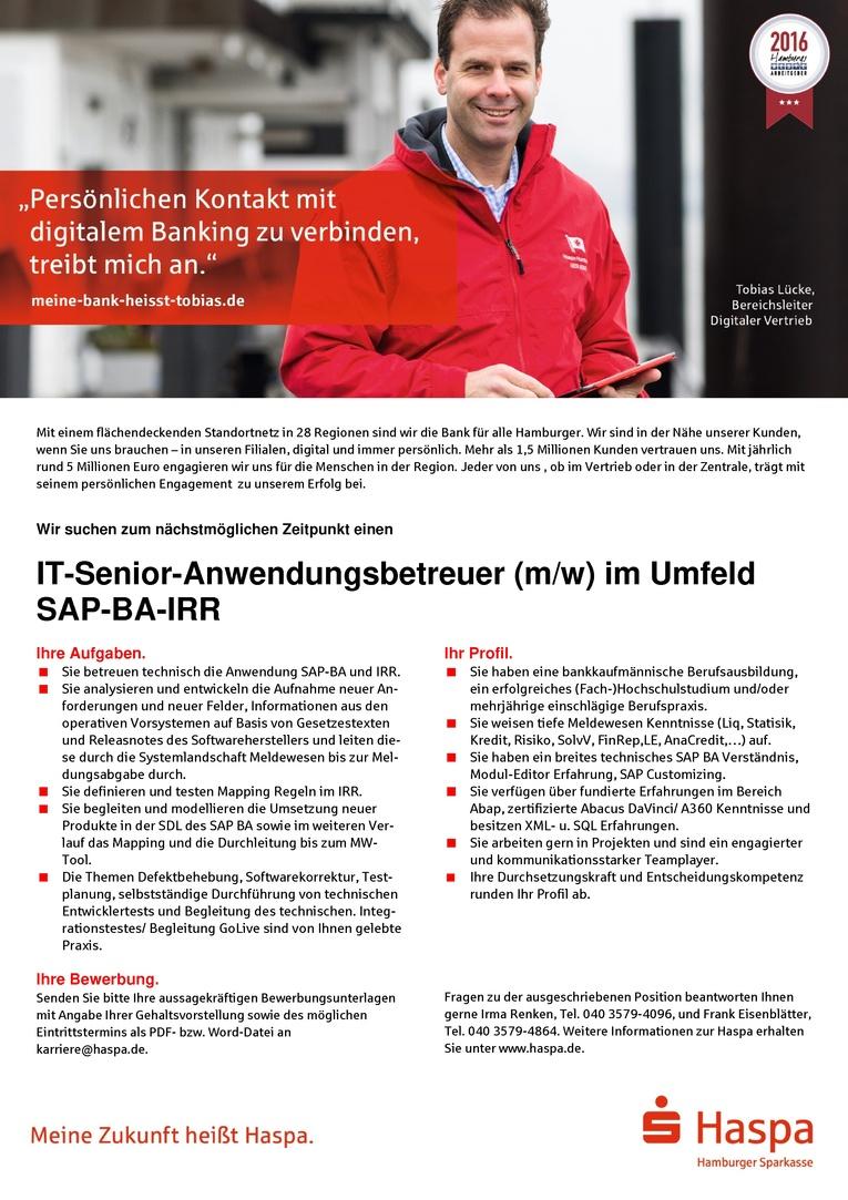 IT-Senior-Anwendungsbetreuer (m/w) im Umfeld SAP-BA-IRR