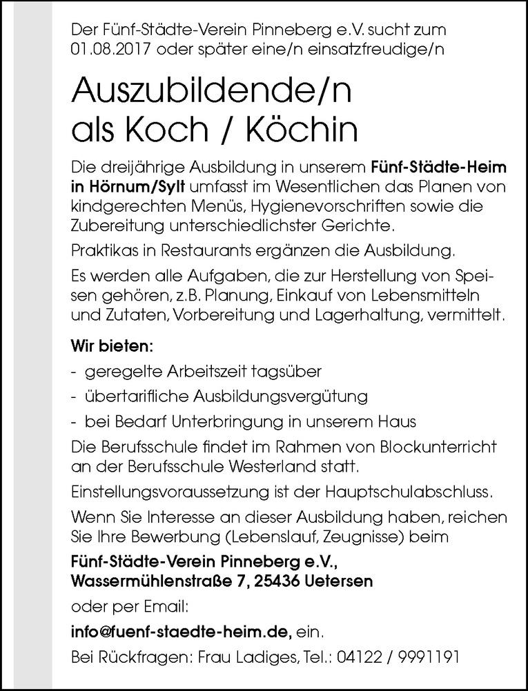 Auszubildende/n als Koch / Köchin