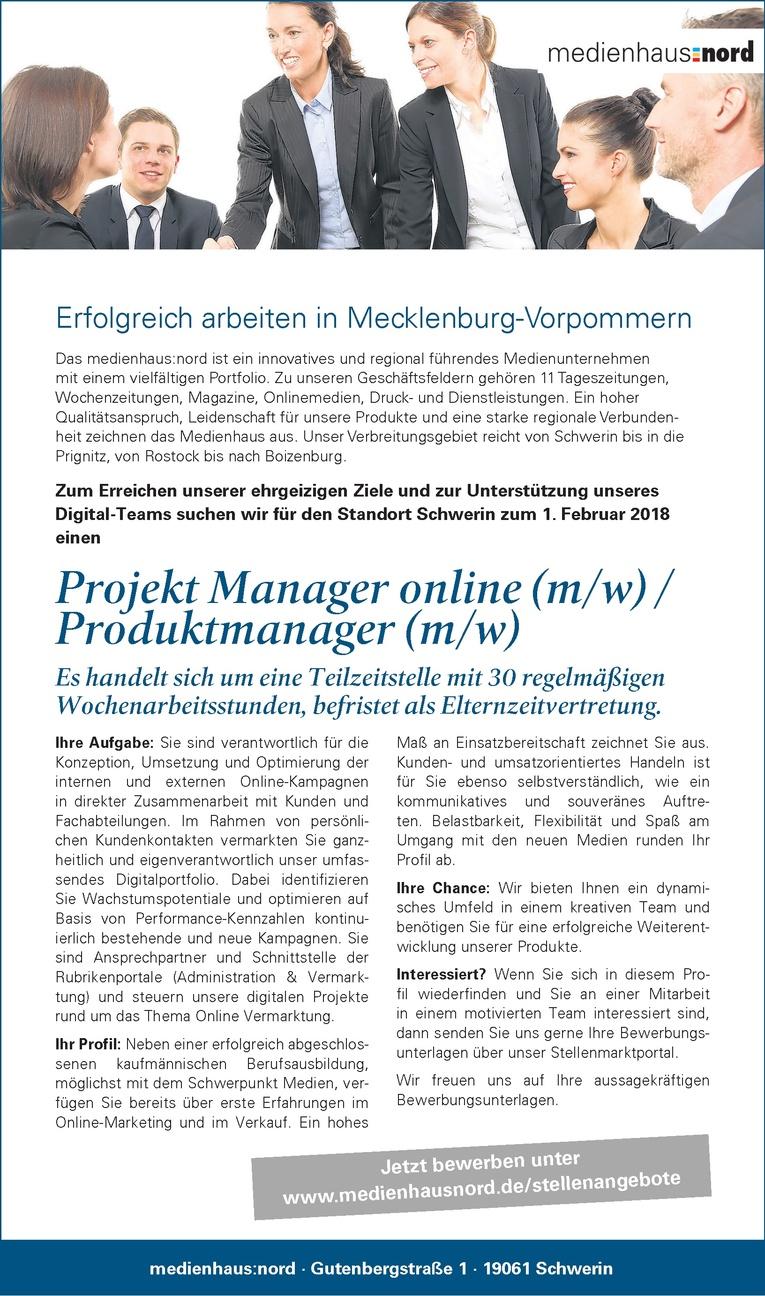 Projekt Manager online (m/w) / Produktmanager (m/w)