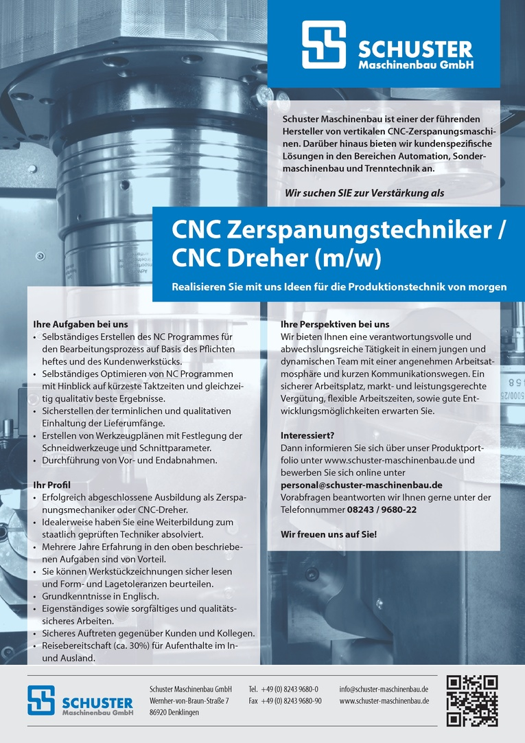 CNC Zerspanungstechniker / CNC Dreher (M/W)