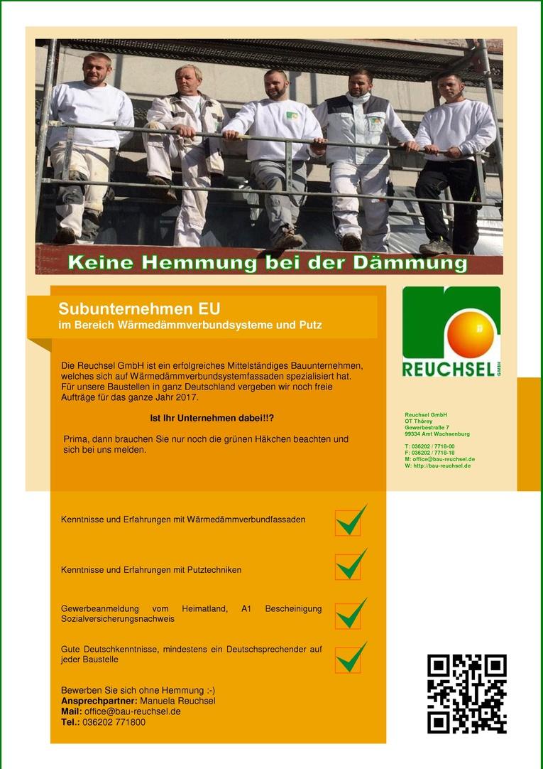 Subunternehmen EU im Bereich Wärmedämmverbundsysteme und Putz