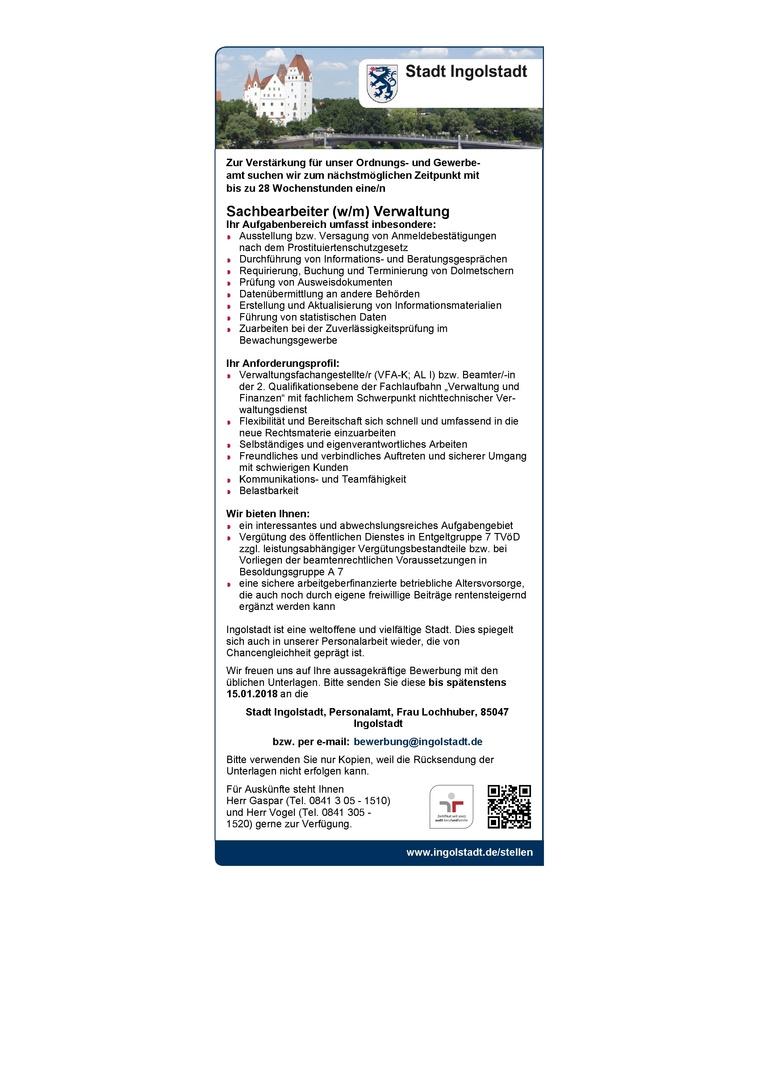 Sachbearbeiter (w/m) Verwaltung