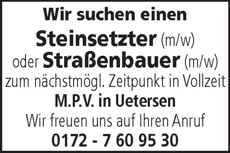 Steinsetzter (m/w) oder Straßenbauer (m/w)
