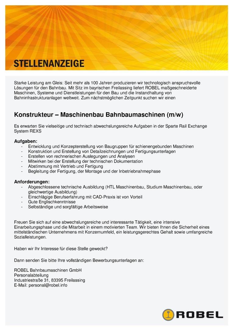 Konstrukteur (m/w) – Maschinenbau Bahnbaumaschinen