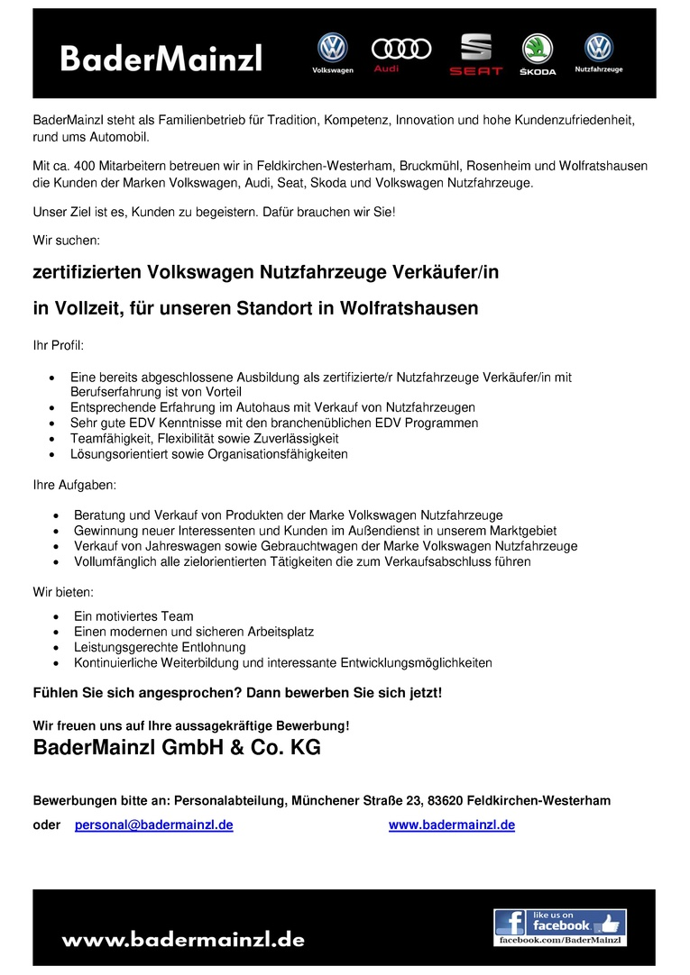 Zertifizierten Volkswagen Nutzfahrzeuge Verkäufer / Verkäuferin