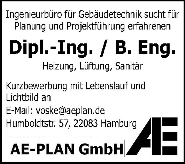 Dipl. Ing. / B. Eng. (m/w) Heizung, Lüftung, Sanitär
